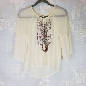 Maurices 🌈 sheer cream top embroidery S